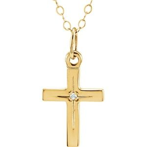 14K Yellow Diamond Cross Youth Necklace